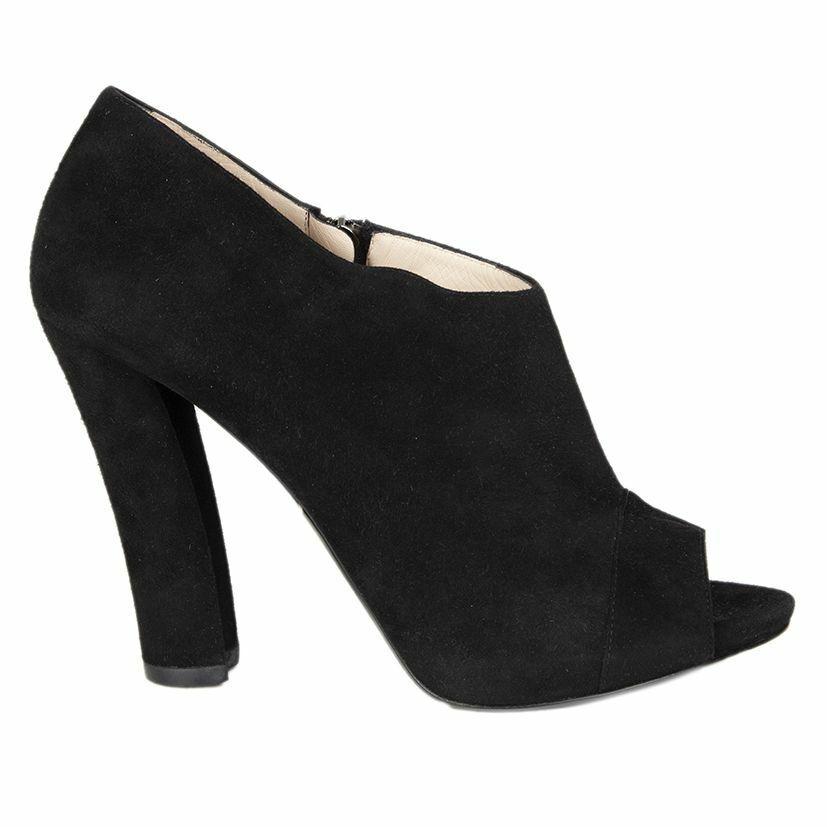 56018 auth GIORGIO ARMANI black suede leather PEEP-TOE Pumps shoes 41