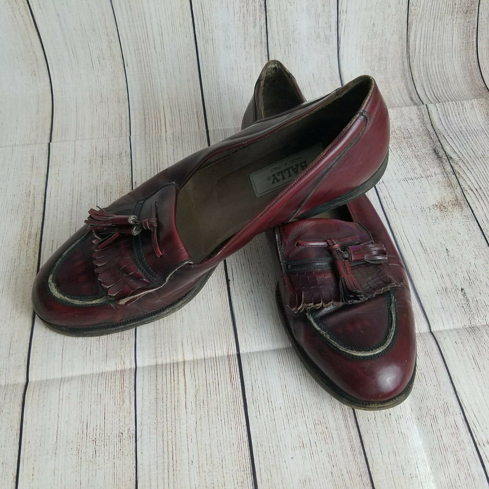 BALLY Men's Loafers Burgundy Leather Tassel Size 11.5 M shoes