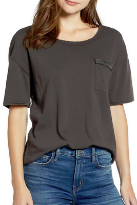 NWT SPLENDID Vintage Whisper Long Sleeve V-Neck Tee Shirt Top Lead Gray Spruce