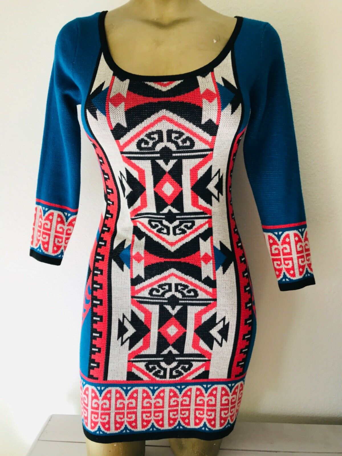 FLYING TOMATO Tribal Print Knit DRESS XS - image 2