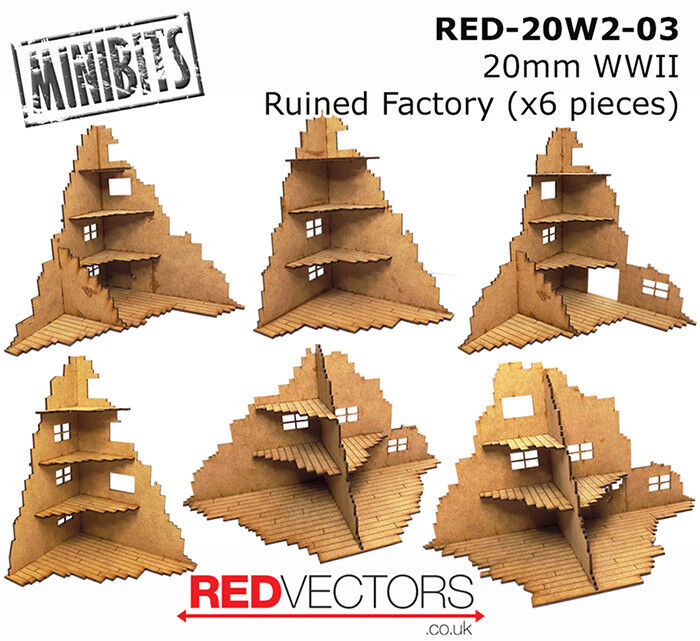 RED-20W2-03 - 20mm Wargames - Ruined Factory x 6 pieces (for WWII)