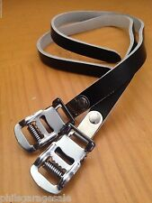 NEW Pair (2) Black Leather Toe Clip Straps Vintage Style Road Track Tour Fixed