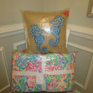 Pottery Barn Lilly Pulitzer Fan Sea Pants King Quilt And