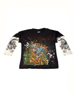 Popular-Ed-Hardy-Boys-Black-Tee-Shirt-with-White-Tiger-Motif-Double-Long-Sleeve