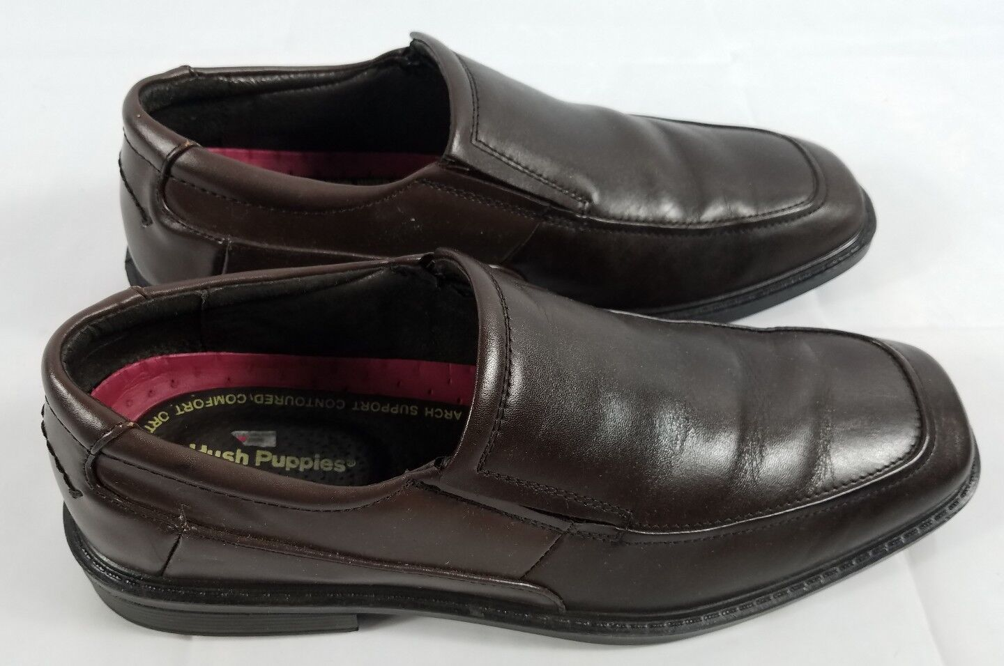 Hush Puppies Shelton Brown Leather Slip On shoes Size 11.5M Office Comfort Relax