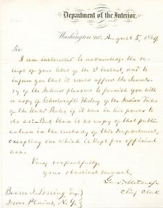 Historian-Benson-Lossing-asks-for-Schoolcraft-039-s-History-Indian-Tribes-of-the-US