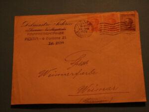 Briefmarken Italien, Briefumschlag mit gestempelter Marke v. Rom nach Weimar - Altenpleen, Deutschland - Briefmarken Italien, Briefumschlag mit gestempelter Marke v. Rom nach Weimar - Altenpleen, Deutschland