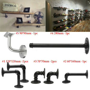 6-Types-Iron-Steampunk-Industrial-Steel-Pipe-Shelf-Bracket-Holder-DIY-Decor