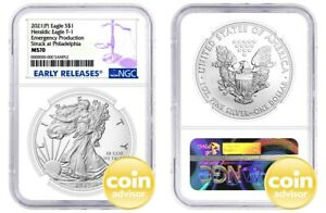 2021 $1 (P) Silver Eagle Emergency Production NGC MS70 Early Releases