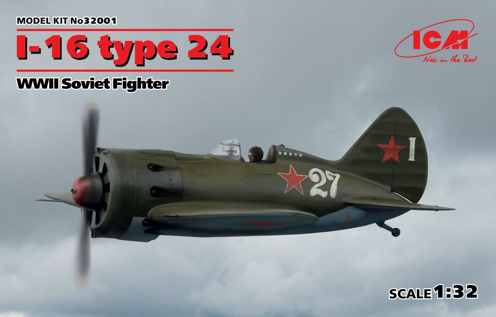 ICM 32001 I-16 type 24, WWII Soviet Fighter 1 32 scale model kit 191 mm