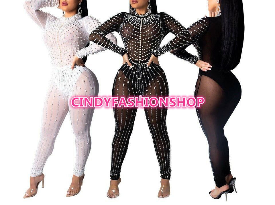 USA Women Diamond and Peal Sheer Mesh Long Sleeve Night Club Party Jumpsuit  Q4