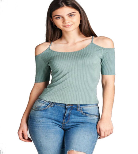 Shirt Juniors`s Cold Shoulder Elbow Sleeve Round Neck Spaghetti Straps Top T