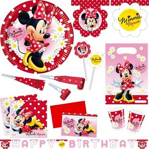 Details zu Minni Maus Party Deko Kindergeburtstag Geburtstag Motto Minnie  Mouse rot Feier