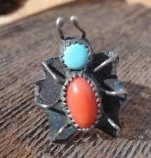 Vintage Native American Sterling Silver Turquoise Coral Bug Spider Ring Size 5