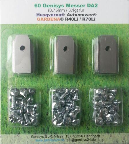 Genisys ® Automower lames 60+3 st 0,75mm/3, 1g Husqvarna ® Gardena ® r70li r40li