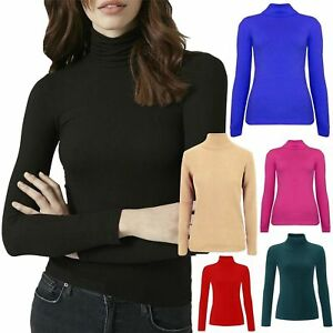 9bde6eb58 New Womens Ribbed Cotton Polo Roll Turtle Neck Long Sleeve Fitted ...