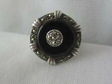 VINTAGE ART DECO REVIVAL 825 SILVER ONYX & MARCASITE RING - SIGNED JL- SIZE 5.5