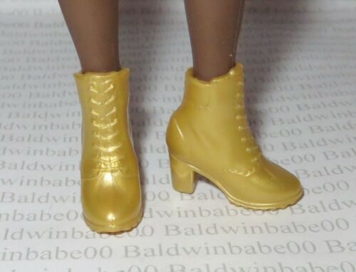 SHOES ~BARBIE DOLL CURVY MADE TO MOVE BMR1959 GOLD PAZETTE ANKLE BOOTS ACCESSORY