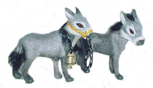 Burro de mano de animales fell 8x10 cm krippentier krippenfigur pelaje animal pelo natural