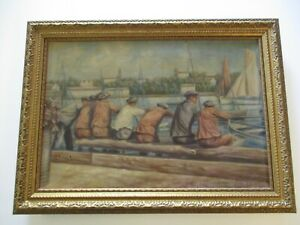 ANTIQUE-WPA-STYLE-OIL-PAINTING-1930-039-S-NAUTICAL-MARITIME-INDUSTRIAL-MARINA-BEACH