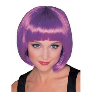 Adult Short Purple Wig Chin Length Hair Bob Bangs Rock Star Womens