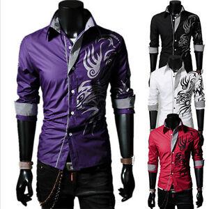 Mens Dragon Printed Slim Fit Long Sleeve Button Down Dress Shirts ...