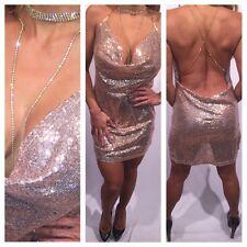 Connie's Semi Sheer Rose Gold Sequin Rhine Stone Choker Evening Mini Dress S