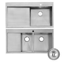 Designer 1000mm Handmade Stainless Steel Kitchen Sink + Waste Pack - Lh Or Rh