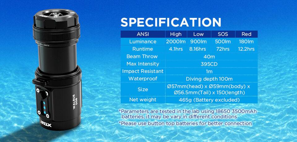 XTAR D08 WALRUS 2000 2000 2000 LUMEN PROFESSIONAL DIVING TORCH SET 100M WATER RESISTANCE d721fb