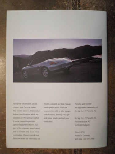 Porsche Boxster ORIG UK 1996 Marketing sales brochure-TIPTRONIC S