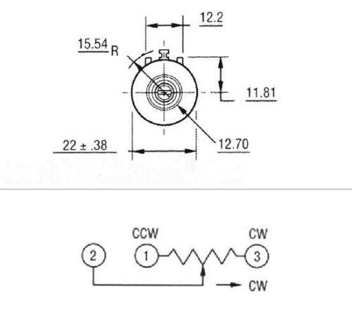 5pcs 3590S-2-201L 200 Ohm Rotatif bobiné Précision Potentiomètre Pot 10 tour