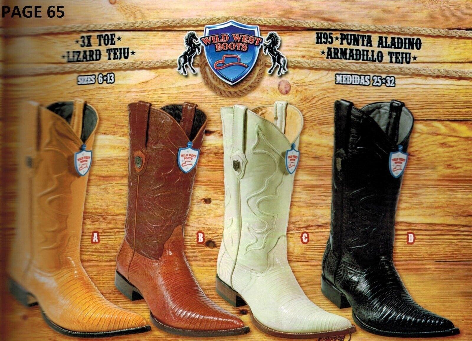 Wild West Men's Lizard Teju XXX-Toe Cowboy Western Boots Different colors