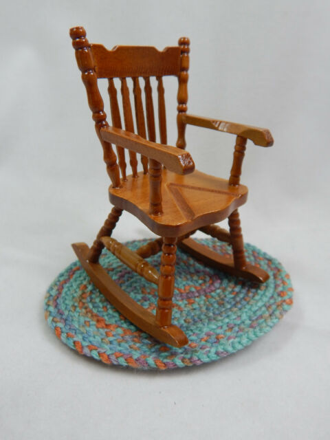 Dollhouse Miniature 1:12 Scale Small Grandma Wood Rocker Rocking Chair  #Z213C