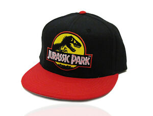 d192d75fc53 Jurassic Park Movie Logo Yellow Patch Flat Bill Snapback Red Black ...