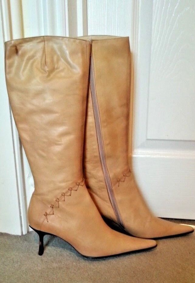 Gorgeous Light Beige Distressed Leather Knee High Stiefel, UK 5, New