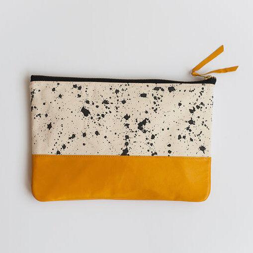Anna Joyce: Splatter Print Clutch, Taxi Cab Yellow