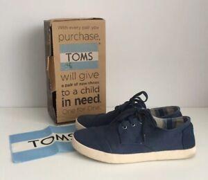 Para-Hombre-TOMS-Paseos-Zapatos-de-lona-azul-con-cordones-Casual-UK-9-Excelente-Estado
