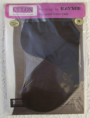 Vintage stockings size 10 dark Celon nylon Kayser 1960s HAWAIIAN HAZE RHT