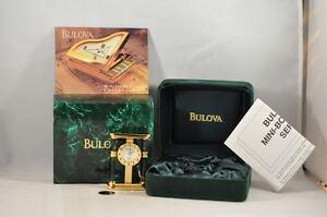 BULOVA-Authentikos-Collectible-Mini-Gold-Desk-Watch-Clock-MOP-Dial
