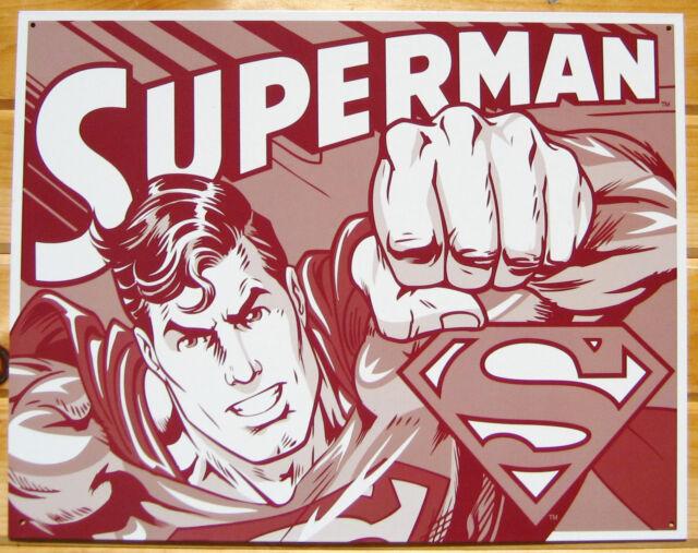 Superman Tin Sign DUOTONE metal poster dc comic retro vtg superhero decor 1732