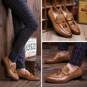 Fashion-Men-039-s-Formal-Dress-Wedding-Leather-Shoes-Tassel-Casual-Loafers-Slip-On