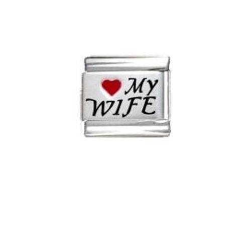 9mm láser encantos italiano L25 amo a mi esposa se adapta Tamaño Clásico Pulsera