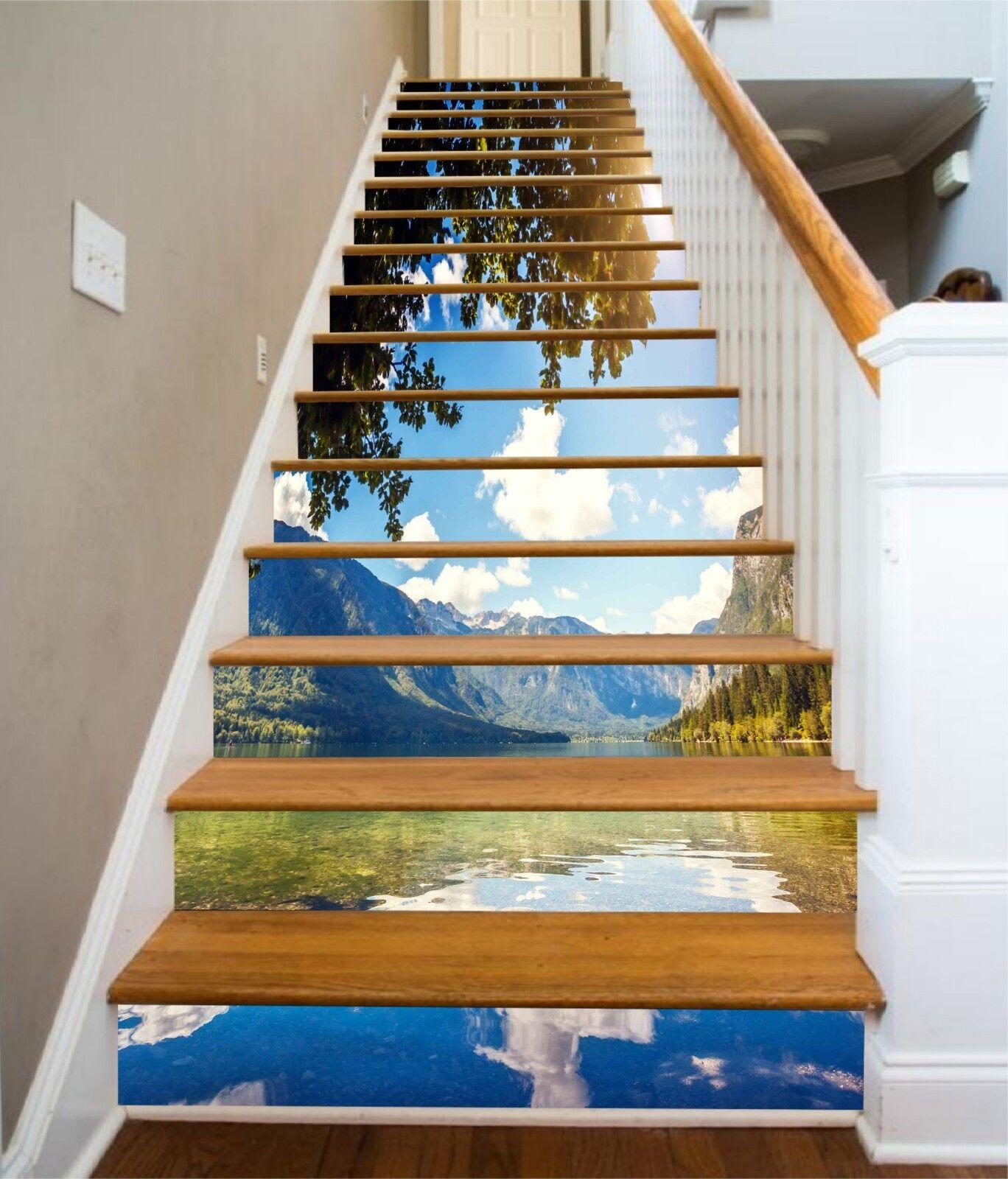 3D lac Hills 3 contremarches Décoration Photo Murale Autocollant Vinyle Papier Peint US