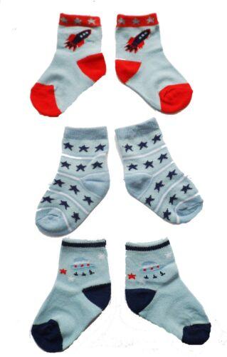 3.5 UK SIZE 0-0 0-2 3 x Pairs Blue Baby Boys Cute Rocket//Space//Stars Socks