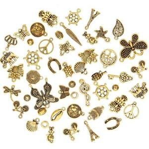 50Pcs-Set-Antique-Gold-Mixed-Styles-Pendants-DIY-Jewelry-for-Necklace-Making-US