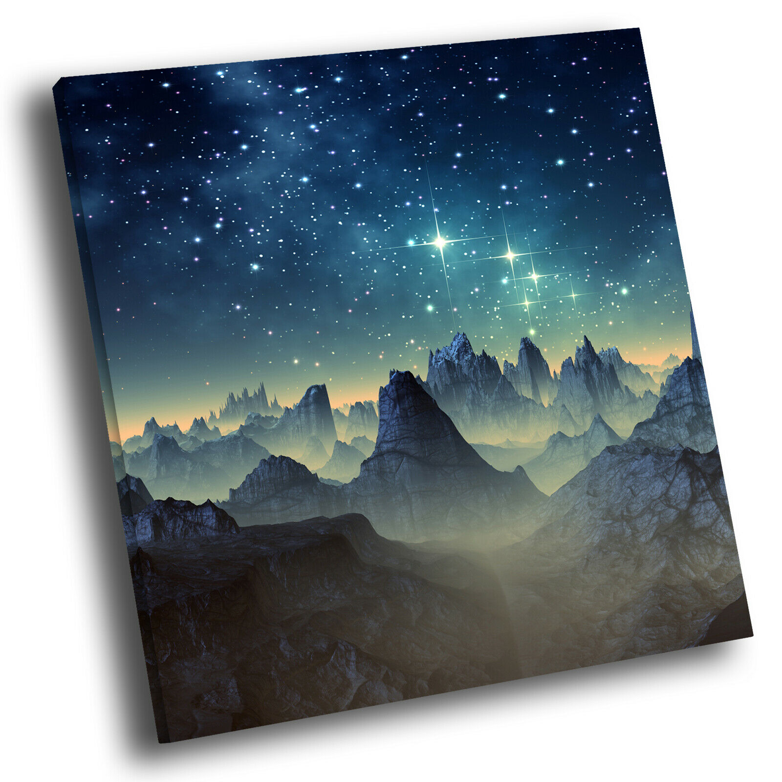 Blau Gelb Stars Mountain Square Scenic Canvas Wall Art Large Picture Print