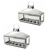 Set Of 2 X Candle Lantern Tea Light Holder Silver Hampton Home & Garden Lantern