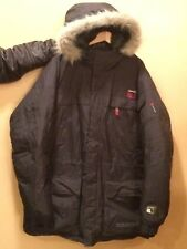 Pepe Jeans London UK Men's 2XL Parka Coat Fur Trim Hood Down Filled Heavy Jacket