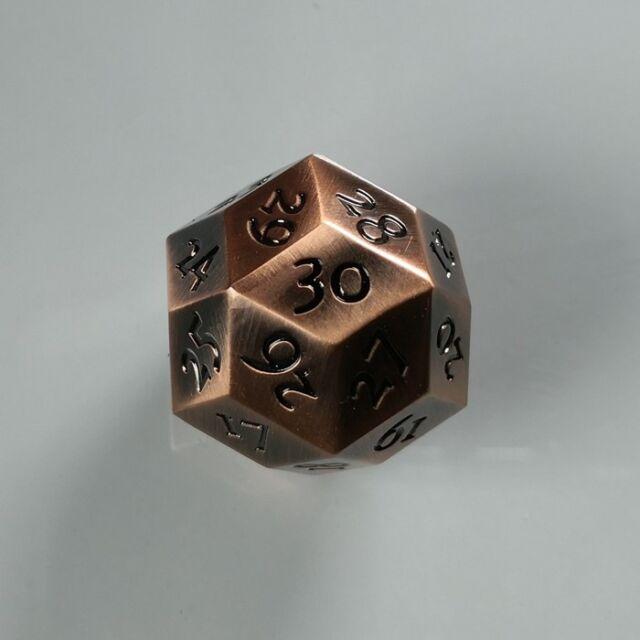Metal D30 Dice 30 Sided Wargame RPG Games Black Purple Copper Steel