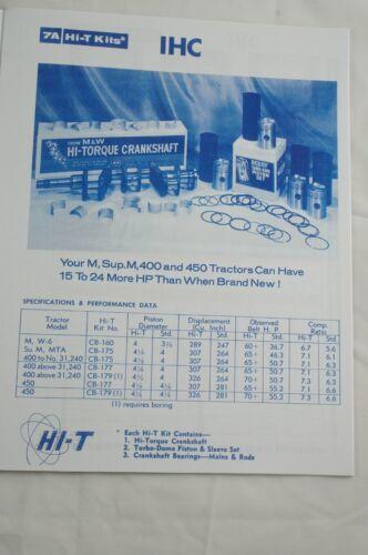 M/&W Gear Co.Tractor Pistons Catalog Farmall Ford Oliver Allis John Deere Moline